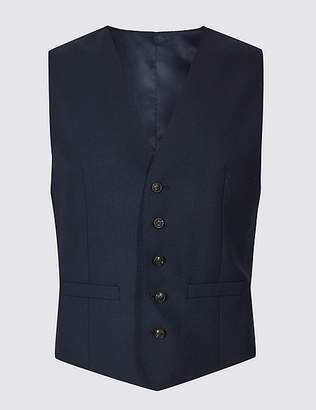 Marks and Spencer Navy Regular Fit Wool Waistcoat