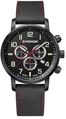 Wenger Men's 'Sport' Swiss Quartz Stainless Steel and Leather Casual Watch