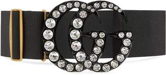 Gucci Elastic belt with crystal Double G buckle