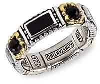 Konstantino Women's Sterling Silver, 18K Yellow Gold & Onyx Ring