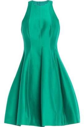 Halston Pleated Cotton And Silk-Blend Duchesse-Satin Mini Dress