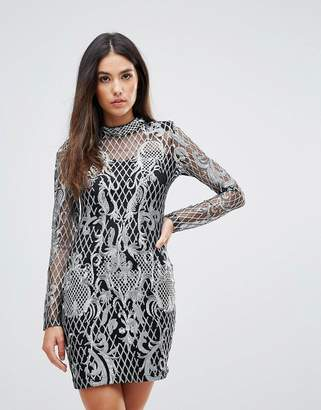 Club L High Neck Sequin Embroidery Dress