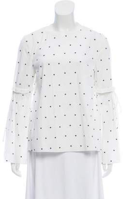 Tanya Taylor Embroidered Long Sleeve Top
