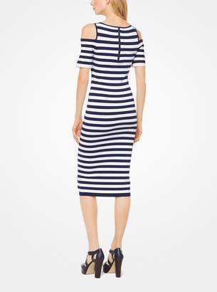 MICHAEL Michael Kors Striped Stretch-Viscose Peekaboo Dress