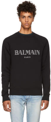 Balmain Black Reflective Logo Sweatshirt