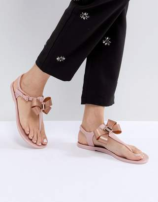 Ted Baker Camaril Pink T-Bar Bow Flat Sandals