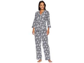 Lauren Ralph Lauren Classic Woven 3/4 Sleeve Pointed Notch Collar Pajama Set
