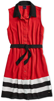 Tommy Hilfiger Adaptive Women's Marcell Pleated Shirtdress with Magnetic Buttons