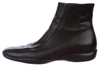 Prada Sport Leather Square-Toe Ankle Boots