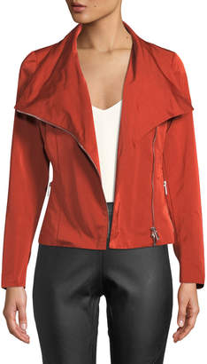 Lafayette 148 New York Cyrilla Cropped Zip-Front Moto Jacket