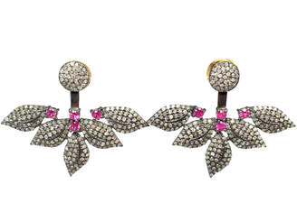 Dripping In Gems Diamond & Ruby Floating Leaf Earrings
