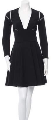 Alexander McQueen V-Neck Box Pleated Dress