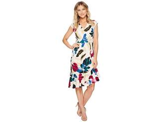 Maggy London Cap Sleeve Asymmetrical Flounce Dress Women's Dress