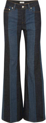 Sonia Rykiel Striped Denim Mid-rise Flared Jeans - Blue