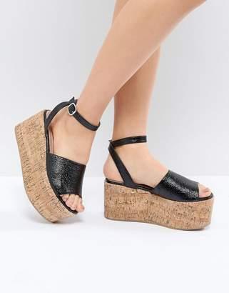 78bfb824cf04 Lost Ink Blu Black Cork Flatform Sandals