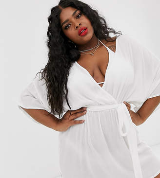 Asos DESIGN Curve plunge tie waist kimono sleeve crinkle beach cover up in white