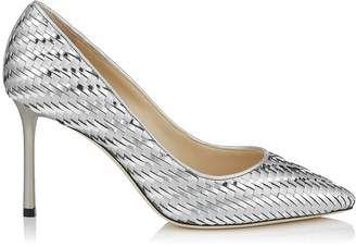 Jimmy Choo ROMY 85 Silver Woven Metallic Fabric Mesh Pointy Toe Pump