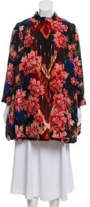 Oscar de la Renta Silk-Blend Floral Print Coat