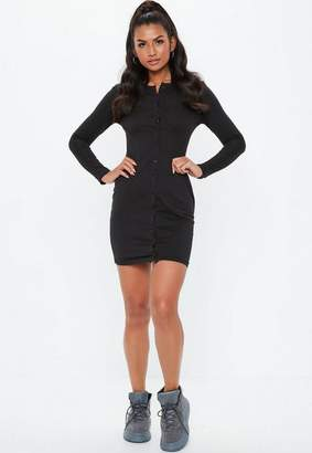 Missguided Black Long Sleeve Button Down Bodycon Shirt Dress