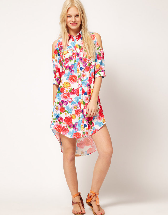 ASOS Shirt Dress In Tropical Print