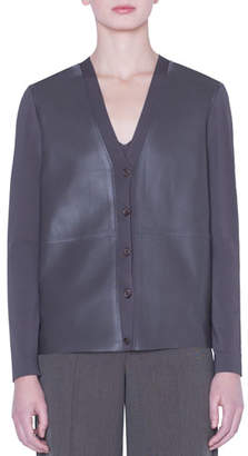 Akris Crepe-Back Napa Leather Button-Front Jacket