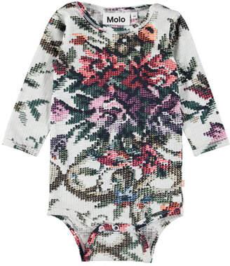 Molo Fair Long-Sleeve Cross-Stitch Floral Bodysuit, Size 6-24 Months