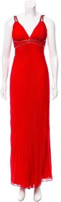 Carlos Miele Pleated Evening Gown Red Pleated Evening Gown