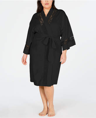 Charter Club Plus-Size Embroidered Lace Knit Robe