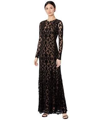 BCBGMAXAZRIA Long Sleeve Velvet Burnout Gown