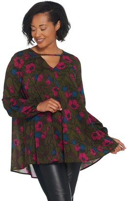 Du Jour Floral Printed Woven Tunic with Balloon Sleeves