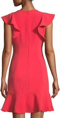 Eliza J Ruffle-Trimmed V-Neck A-Line Dress