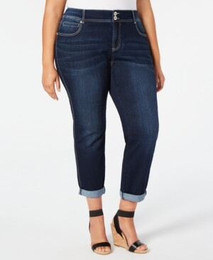 INC International Concepts I.n.c. Plus Size Tummy-Control Boyfriend Jeans, Created for Macy's