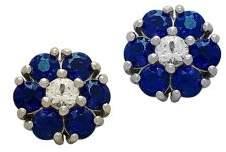 Lord & Taylor Blue Sapphire, White Topaz & 14K White Gold Flower Stud Earrings