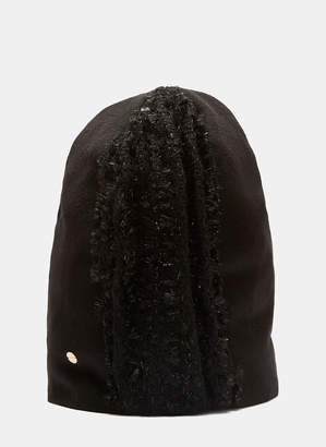 Flapper Demetra Lurex Fuzzy Knit Hat in Black