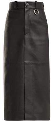 Balenciaga - Slit Hem Leather Pencil Skirt - Womens - Black