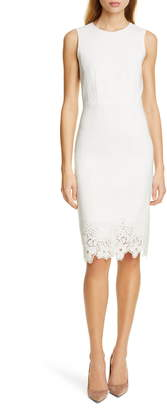 Rebecca Taylor Tailored By Eyelet Detail Linen Blend Sheath Dress