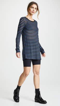Alexander Wang Striped Slub Jersey Long Sleeve Tee