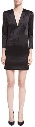 Veronica Beard Otto V-Neck Puff-Sleeve Mini Cocktail Dress