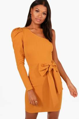 boohoo Erin One Shoulder Bow Waist Bodycon Dress