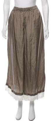 Creatures of Comfort Satin Eyelet-Accented Wide-Leg Pants