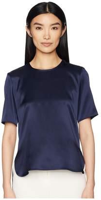 ADAM by Adam Lippes Silk Charmeuse Short Sleeve T-Shirt w/ Cross-Back Women's T Shirt
