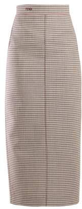 Fendi Checked Wool Blend Pencil Skirt - Womens - Pink Multi