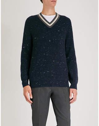 Brunello Cucinelli Flecked V-neck wool and cashmere-blend jumper