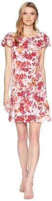 London Times Flower Swirl Print Matte Jersey Dress Women's Dress