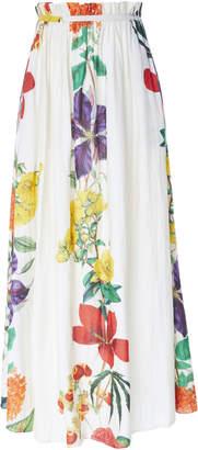 Carolina K. Gloria Paper Bag Floral Cotton-Blend Maxi Skirt