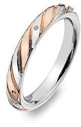 Hot Diamonds Breeze Rose Gold Accents and Sterling Silver Ring Size - M