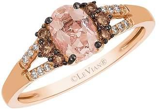 LeVian Le Vian Women's Chocolatier Vanilla Diamond, Chocolate Diamond, Morganite and Strawberry Gold Ring