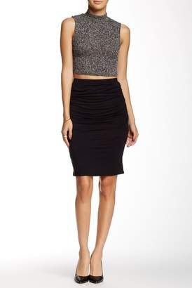 Loveappella Side Shirred Midi Skirt