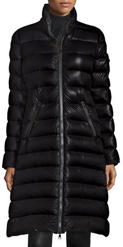 Moncler Moncler Moka Long Shiny Quilted Down Coat, Black
