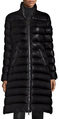 Moncler Moka Long Shiny Quilted Down Coat, Black $1,115 thestylecure.com